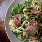 Zucchini noodle salad with steak