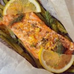 Parchment baked salmon with lemon and vegetables, on the Candida diet